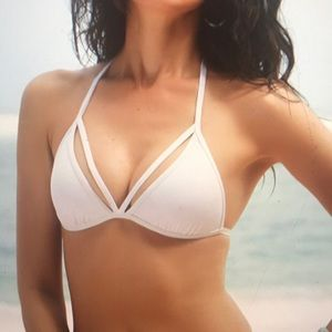 White envy push up cutout string bikini top